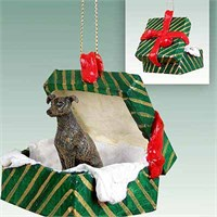 Greyhound Gift Box Christmas Ornament Brindle
