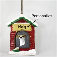 Greyhound Personalized Dog House Christmas Ornament