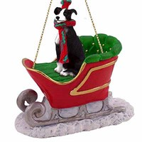 Greyhound Sleigh Ride Christmas Ornament Black and White