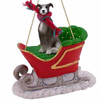 Greyhound Sleigh Ride Christmas Ornament Blue
