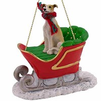 Greyhound Sleigh Ride Christmas Ornament Tan and White