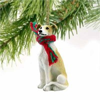 Greyhound Christmas Ornament Tan and White