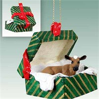 Guernsey Cow Gift Box Christmas Ornament