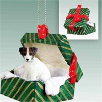 Jack Russell Terrier Gift Box Christmas Ornament Brown-White