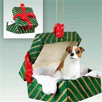 Jack Russell Terrier Gift Box Christmas Ornament Brown-White Smooth Coat