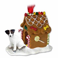 Jack Russell Terrier Gingerbread House Christmas Ornament Brown-White