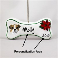 Jack Russell Terrier Personalized Dog Bone Christmas Ornament