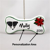 Jack Russell Terrier Personalized Dog Bone Christmas Ornament Black-White