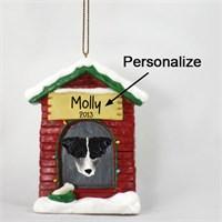Jack Russell Terrier Personalized Dog House Christmas Ornament Black-White