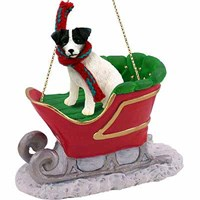 Jack Russell Terrier Sleigh Ride Christmas Ornament Black-White