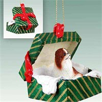 Japanese Chin Gift Box Christmas Ornament Red-White