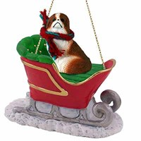 Japanese Chin Sleigh Ride Christmas Ornament Red-White