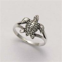 Sterling Silver Swimming Sea Turtle Ring