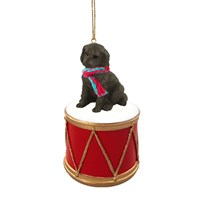 Labradoodle Chocolate Little Drummer Christmas Ornament