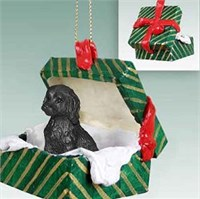 Labradoodle Gift Box Christmas Ornament Black