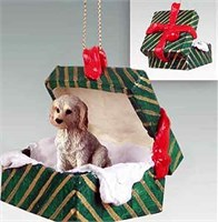 Labradoodle Gift Box Christmas Ornament Cream-Blonde