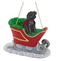 Labradoodle Sleigh Ride Christmas Ornament Black