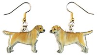 Yellow Lab Earrings Hand Painted Acrylic