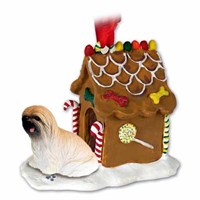 Lhasa Apso Christmas Ornament Gingerbread House