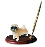 Lhasa Apso Pen Holder (Brown Sport cut)