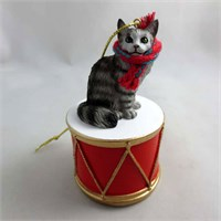 Little Drummer Maine Coon Silver Cat Christmas Ornament