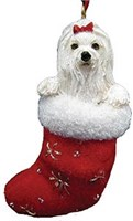 Maltese Christmas Stocking Ornament