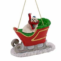 Maltese Sleigh Ride Christmas Ornament