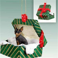 Miniature Pinscher Gift Box Christmas Ornament Tan-Black