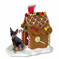 Miniature Pinscher Gingerbread House Christmas Ornament Tan-Black