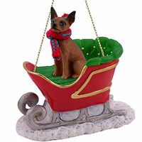 Miniature Pinscher Sleigh Ride Christmas Ornament Red-Brown