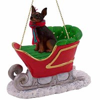 Miniature Pinscher Sleigh Ride Christmas Ornament Tan-Black