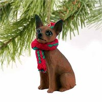 Miniature Pinscher Tiny One Christmas Ornament Red-Brown
