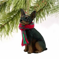 Miniature Pinscher Tiny One Christmas Ornament Tan-Black