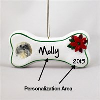 Pekingese Personalized Dog Bone Christmas Ornament