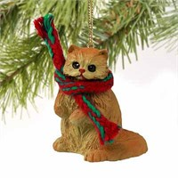 Persian Cat Tiny One Christmas Ornament Red