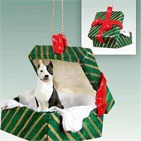 Brindle Pit Bull Terrier Gift Box Christmas Ornament