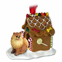 Pomeranian Christmas Ornament Gingerbread House