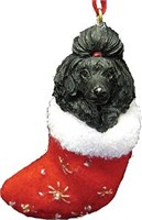Poodle (Black) Christmas Stocking Ornament