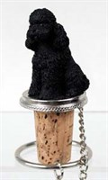 Poodle Bottle Stopper (Black Sport cut)
