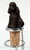 Poodle Bottle Stopper (Chocolate Sport cut)