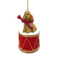 Poodle Apricot Sport Cut Little Drummer Christmas Ornament