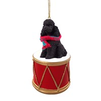 Poodle Black Sport Cut Little Drummer Christmas Ornament