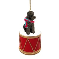 Poodle Chocolate Sport Cut Little Drummer Christmas Ornament