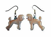 Poodle Earrings Apricot Sport Cut Hand Painted Acrylic