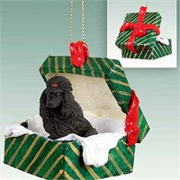 Poodle Gift Box Christmas Ornament Black
