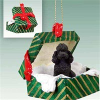Poodle Gift Box Christmas Ornament Black Sport Cut