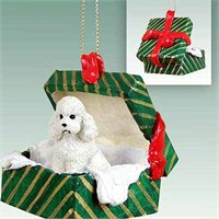 Poodle Gift Box Christmas Ornament White Sport Cut