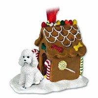 Poodle Gingerbread House Christmas Ornament White Sport Cut
