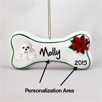 Poodle Personalized Dog Bone Christmas Ornament White