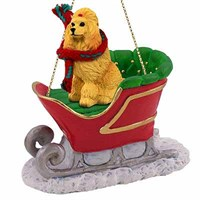 Poodle Sleigh Ride Christmas Ornament Apricot